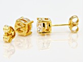 White Fabulite Strontium Titanate 18k yellow gold over sterling silver stud earrings 2.27ctw