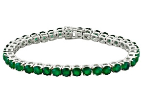 Green Onyx Rhodium Over Sterling Silver Tennis Bracelet