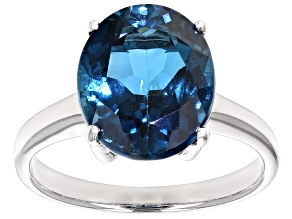 London Blue Topaz Sterling Silver Solitaire Ring 5.17ct