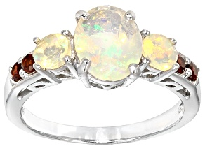 Multi Color Ethiopian Opal Rhodium Over Sterling Silver Ring 1.34ctw