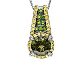 Green Moldavite Sterling Silver Pendant With Chain 2.30ctw