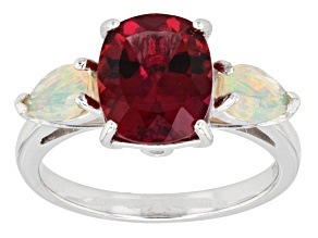 Red Lab Created Bixbite Sterling Silver Ring 2.54ctw