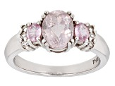 Pink Kunzite Sterling Silver Ring 1.98ctw
