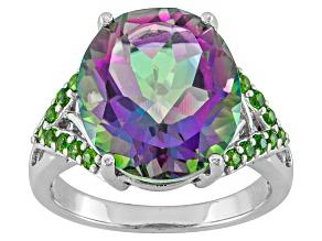 Mystic® green quartz rhodium over sterling silver ring 6.49ctw