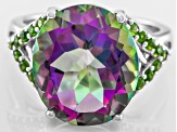 Mystic® green quartz sterling silver ring 6.49ctw