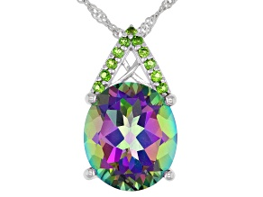 Mystic® green quartz Rhodium Over silver pendant with chain 6.37ctw