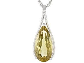 Lemon Quartz Rhodium Over Silver Pendant With Chain 6.75ct