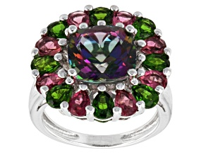 Mystic® Green Topaz Sterling Silver Ring 4.93ctw