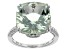 Green Brazilian Prasiolite Rhodium Over Sterling Silver Ring 7.55ctw