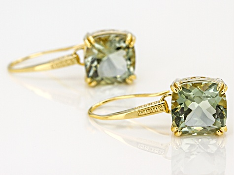 Green prasiolite 18k yellow gold over silver solitaire earrings 6.90ctw