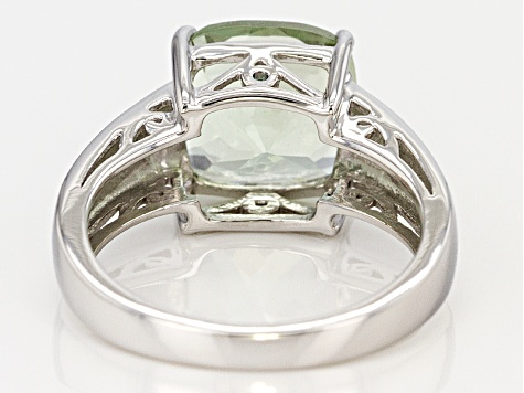 Green Prasiolite Sterling Silver Ring 3.65ctw