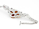 Orange Polish Amber And Garnet Sterling Silver Bracelet 1.00ctw