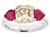 Fabulite Strontium Titanate and Mahaleo Ruby Sterling Silver Ring 4.41ctw
