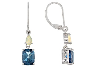 London Blue Topaz Rhodium Over Sterling Silver Dangle Earrings 3.05ctw