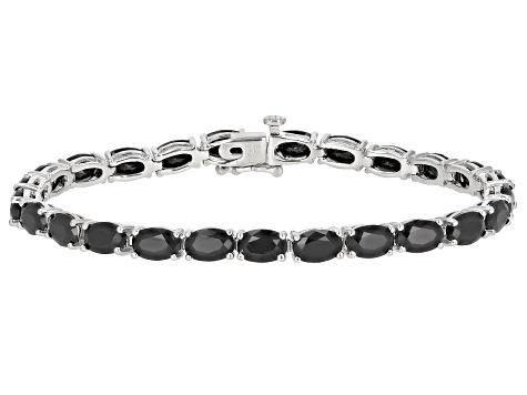 Black Spinel Sterling Silver Tennis Bracelet 13 32ctw