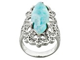 Blue Larimar Sterling Silver Ring .83ctw