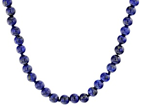 Blue Lapis Bead Sterling Silver Necklace.