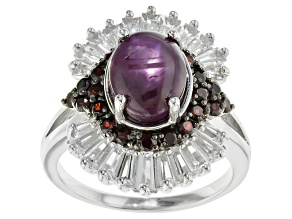 Red indian Star Ruby Sterling Silver Ring 7.22ctw