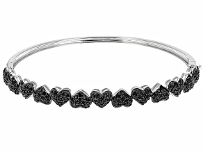 Black Spinel Rhodium Over Sterling Silver Hinged Bangle Bracelet 2.05ctw
