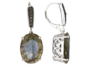 Gray labradorite rhodium over sterling silver earrings .01ctw