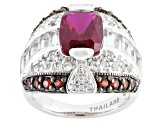 Red Lab Created Ruby, Garnet And White Topaz Sterling Silver Ring 5.21ctw