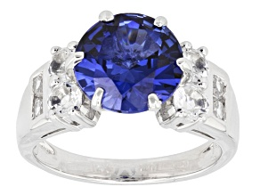 Blue Lab Created Sapphire Rhodium Over Sterling Silver Ring 4.12ctw
