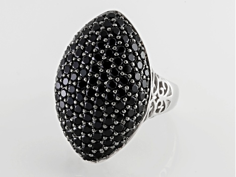 Black Spinel Sterling Silver Ring 4.11ctw