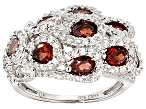 Red Garnet And White Zircon Sterling Silver Ring 2.54ctw