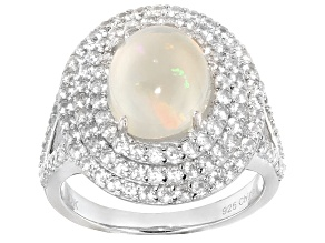 Multi Color Ethiopian Opal And White Zircon Sterling Silver Ring 2.88ctw