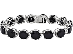 Black Spinel Rhodium Over Sterling Silver Tennis Bracelet  72.72ctw