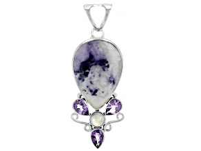 Morado Opal, Rainbow Moonstone And Amethyst Sterling Silver Pendant 3.75ctw