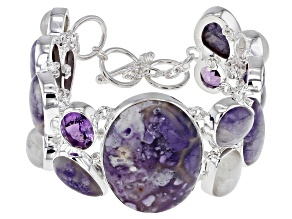 Opal, Rainbow Moonstone And Amethyst Sterling Silver Bracelet