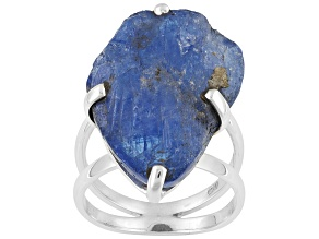 Blue Rough Tanzanite Sterling Silver Ring