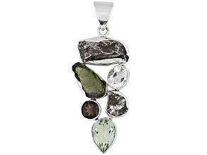 12.2ctw Meteorite Moldavite Smoky Quartz Prasiolite .925 Silver Pendant