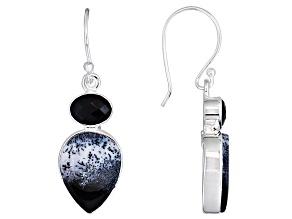 Pear Shape Dendritic Opal Black Onyx Solid Sterling Silver Earrings
