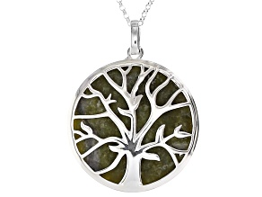 Green Connemara Marble Sterling Silver Fairy Tree Pendant With Chain.