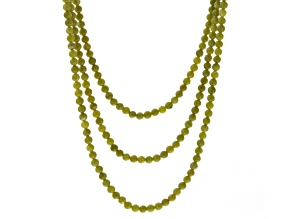 Green Connemara Marble Bead Silver Tone Over Brass Necklace
