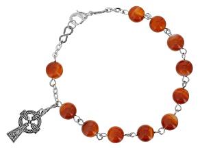 Red Carnelian Silver Tone Over Brass Rosary Bracelet