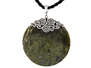 Green Connemara Marble Sterling Silver Enhancer With Cord