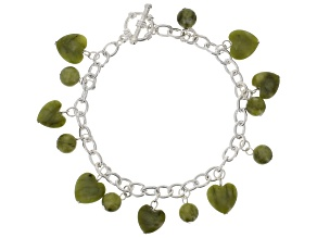 Green Connemara Marble Charms With Silver Tone Over Brass Bracelet