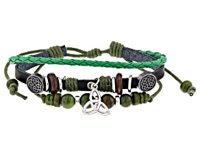 Green Connemara Marble Silver Tone Over Brass Leather Charm Bracelet