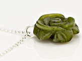 Green Connemara Marble Rose Sterling Silver Pendant With Chain