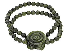 Green Connemara Marble Rose Stretch Bracelet