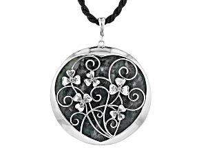 Green Connemara Marble Silver Shamrock Enhancer With Cord