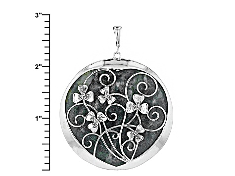 Green Connemara Marble Silver Shamrock Enhancer With Cord