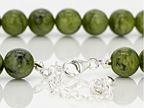 Green Connemara Marble Bead Sterling Silver Strand Necklace