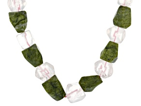 Green Connemara Marble Silver Tone Over Brass Necklace