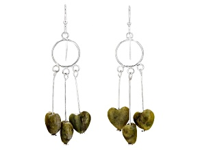 Green Connemara Marble Hearts Sterling Silver Earrings