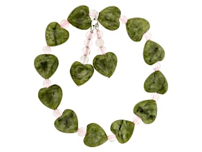 Green Connemara Marble Heart Stretch Bracelet