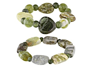 Green Connemara Marble Stretch 2 Bracelet Set
